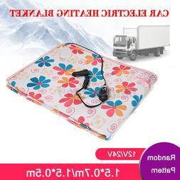 12V/24V Electric Car Blanket Heated Travel Throw Cosy Warm W