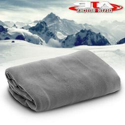 12V Heated Electric Fleece Gray Grey Cozy Blanket Automotive