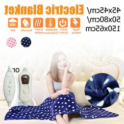 220V Electric Heated Throw Blanket Queen Soft Winter Warm He