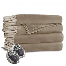 Sunbeam - Queen Size Heated Blanket Luxurious Velvet Plush w