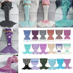 Adults Kids Mermaid Tail Crochet Knitted Blanket Sleeping Ba