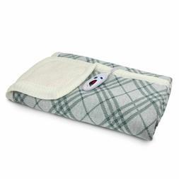Biddeford Heated Sweater Knit Sherpa Throw Blanket + Control