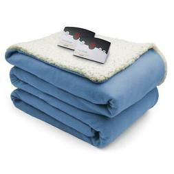 Biddeford Blankets Comfort Knit/Sherpa Electric Heated Blank