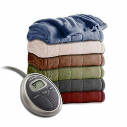 Sunbeam Channeled Velvet Plush Electric Heated Blanket Twin