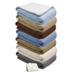 Biddeford Comfort Knit Natural Sherpa Electric Heated Blanke