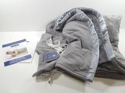 Thermee Micro Flannel Electric Blanket Full Pewter