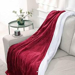"""maxkare electric blanket heated throw flannel & sherpa 50"""" X"""