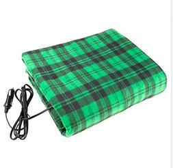 Electric Car Blanket- Heated 12 Volt Fleece Travel Throw for