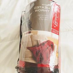 Sunbeam Electric Heated Fleece, Throw Blanket - Red Plaid