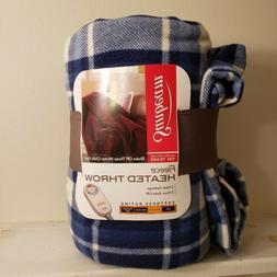 Sunbeam Electric Heated Fleece, Throw Blanket - Royal Blue P