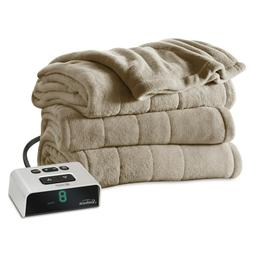 Electric Heated Microplush Channeled Blanket by Sunbeam