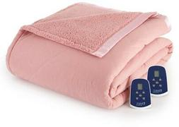 Electric Quilted Heated Blanket Reversible Sherpa Fabric Que