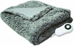 Serta Faux Fur Electric Heated Warming Throw Blanket Gray