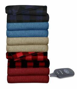 Electric Fleece Blanket Heated Quilted Warm Winter Bed Full Garnet Assorted