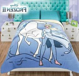FROZEN II Elsa FLEECE BLANKET TWIN SHERPA Comforter Warm Sof