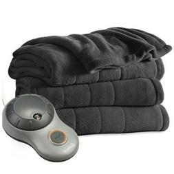 Sunbeam FULL Size Electric Heated Microplush Blanket SLATE G