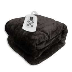 full size microplush electric heated blanket black