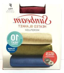 Sunbeam Heated Blanket Size Full Micro Plush Maroon Burgundy