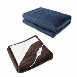 Homde Heated Electric Throw  Reversible Flannel/Sherpa Washa