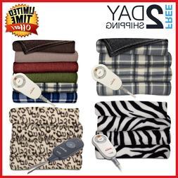 Heated Fleece Electric Throw Blanket by Sunbeam Super Comfy