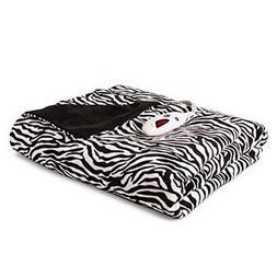 Biddeford Heated Microplush Throw - Zebra