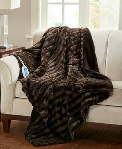 Beautyrest Heated Throw Blanket Duke Faux Fur Chocolate Brow