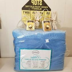 Sunbeam King Electric Blanket Dual Controls NOS Blue Deluxe