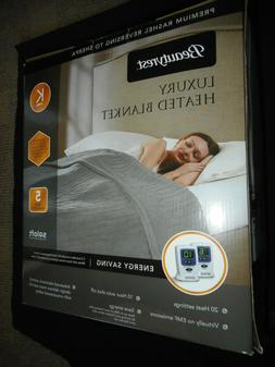 KING Beautyrest Luxury Heated Electric Blanket  TAUPE 2 Cont