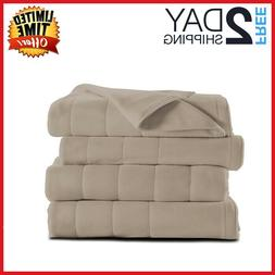 King Size Heated Electric Blanket by Sunbeam Super Soft W/ 2