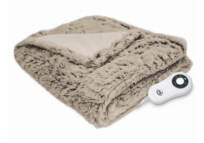 Serta  Faux Fur Electric Heated Throw  BLANKET HEAT WARM NEW