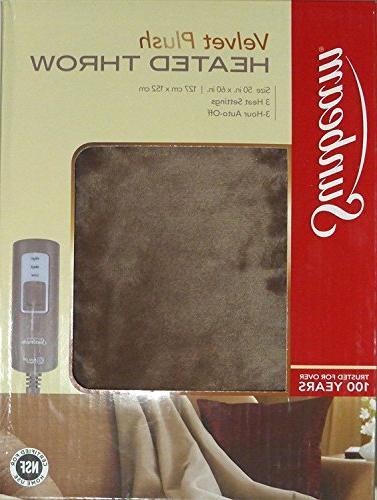 Sunbeam Velvet Soft Plush Heated Throw Blanket Various Color