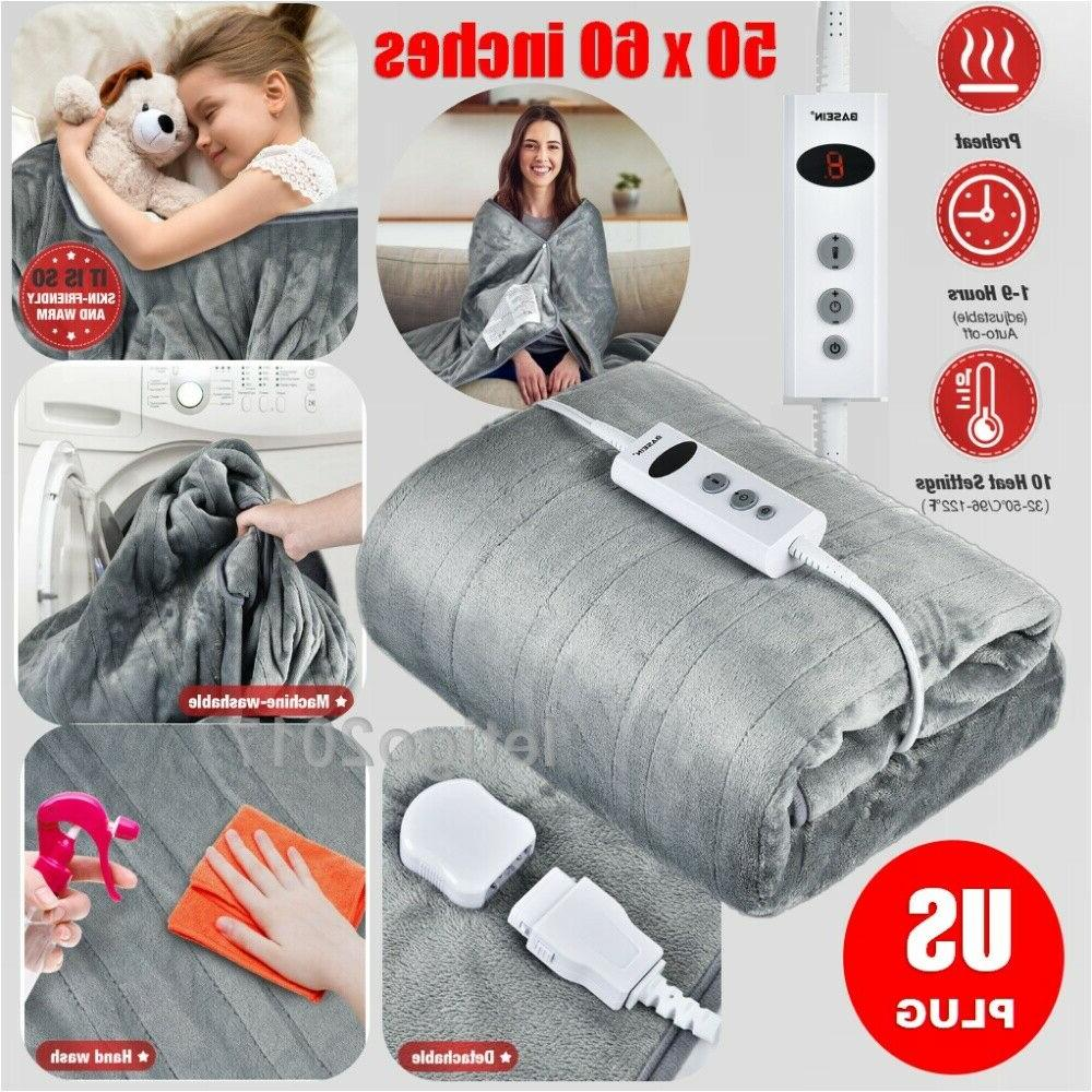 Auto Off Electric Heated Plush Throw Blanket Pain Relief Pad