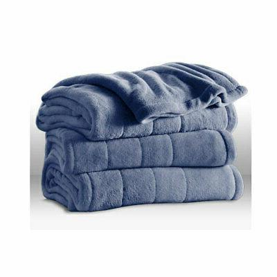 Sunbeam Channeled Microplush Heated Blanket Twin Full Queen King
