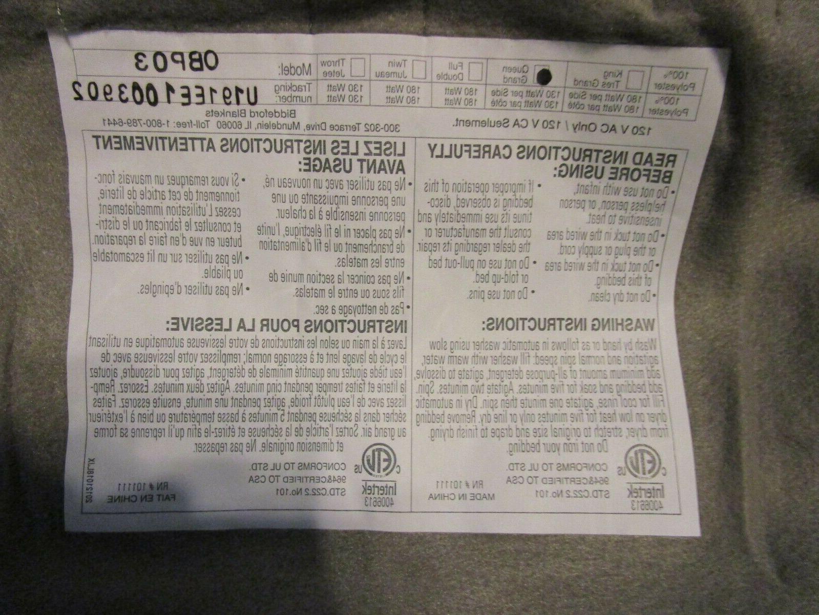 Biddeford Comfort Electric Heated Blanket Digital *Gray*Queen*