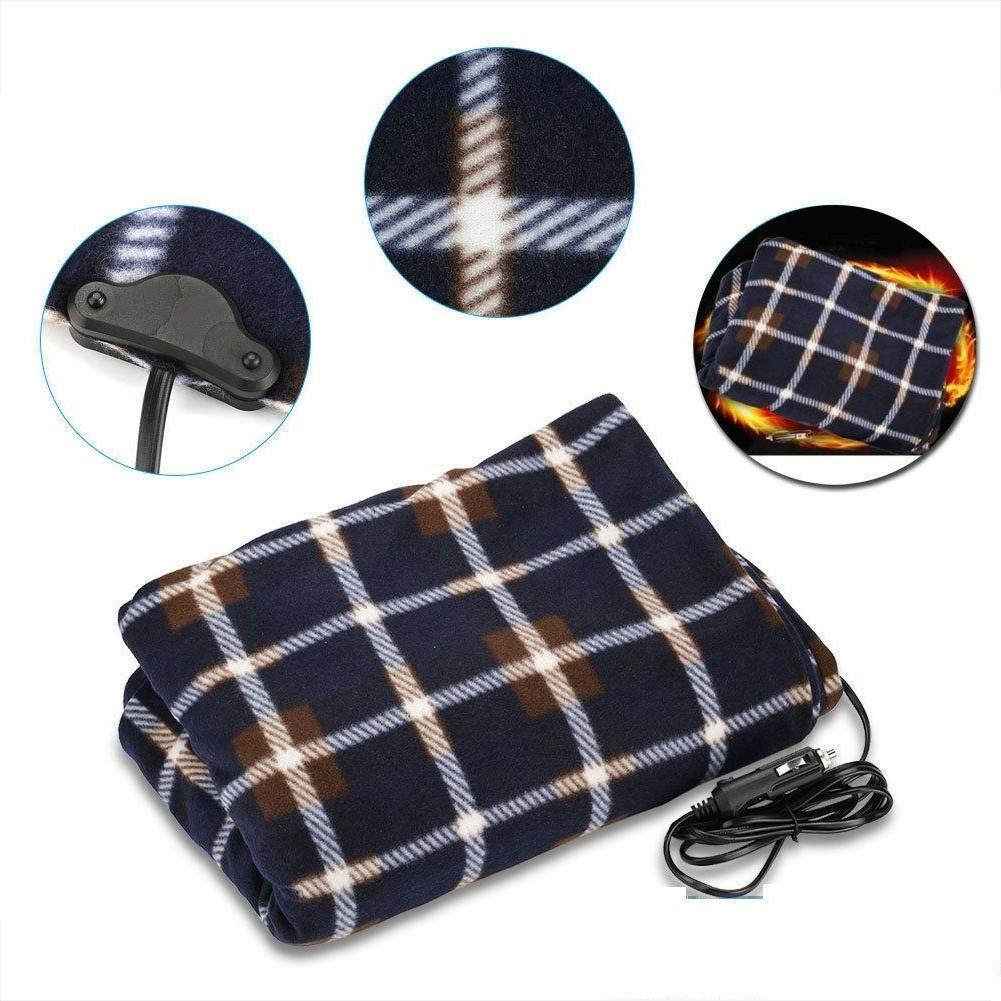 Electric Car Blanket Heated 12V Fleece Travel Throw Fleece C