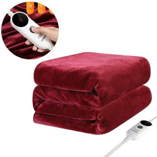 electric heated plush throw blanket 50x60 inch