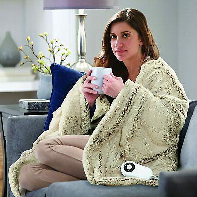 Serta Faux Electric Heated Warming Gray