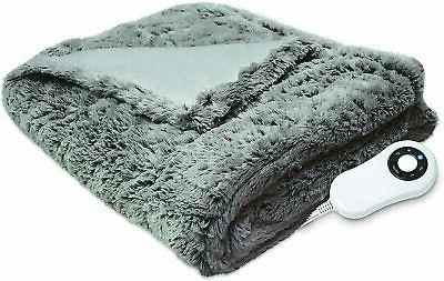 faux fur electric heated warming throw blanket