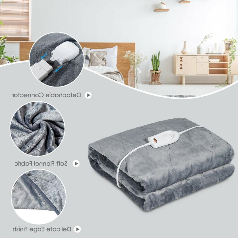 Flannel Electric Blanket Throw with Heat Settings