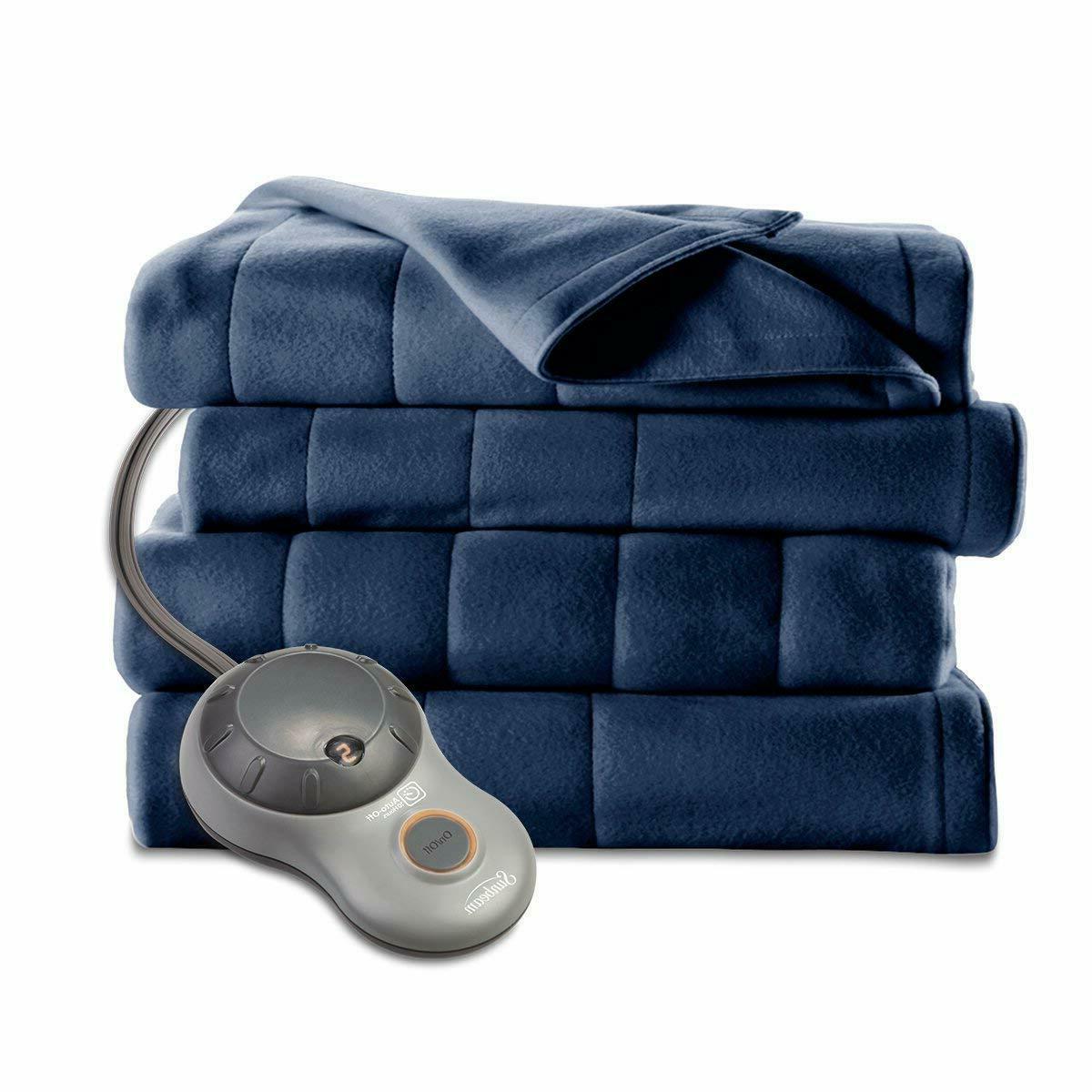 Sunbeam Heated Heat Fleece Newport Blue Twin