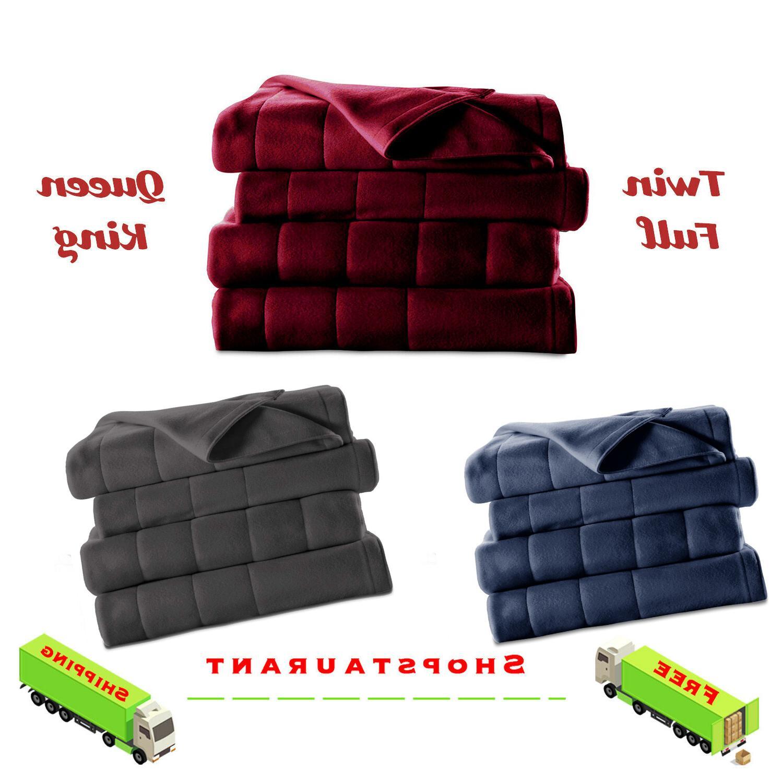 heated electric fleece channeled blanket soft warm