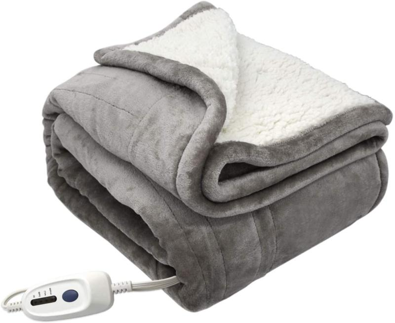 heated electric throw blanket flannel sherpa extra