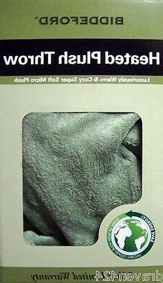BIDDEFORD HEATED PLUSH ELECTRIC BLANKET THROW - COLOR SAGE -