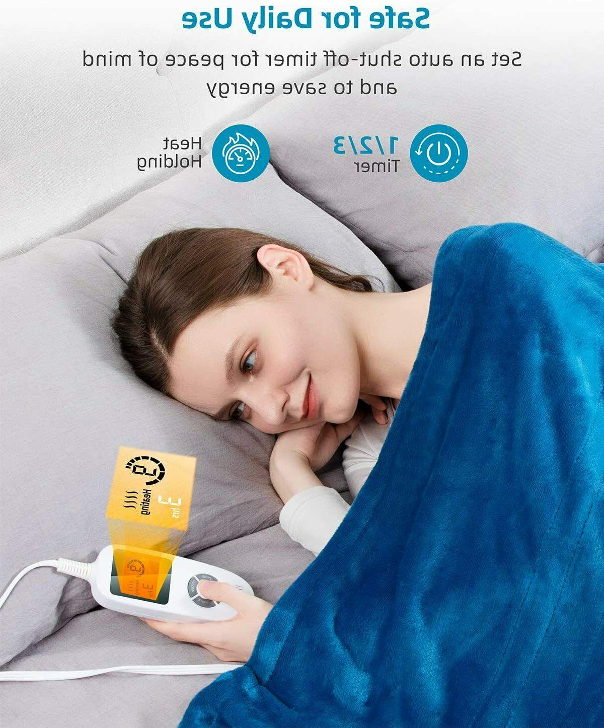 """iTeknic Heated Blanket Throw, 60""""x 50"""" Electric with 10"""