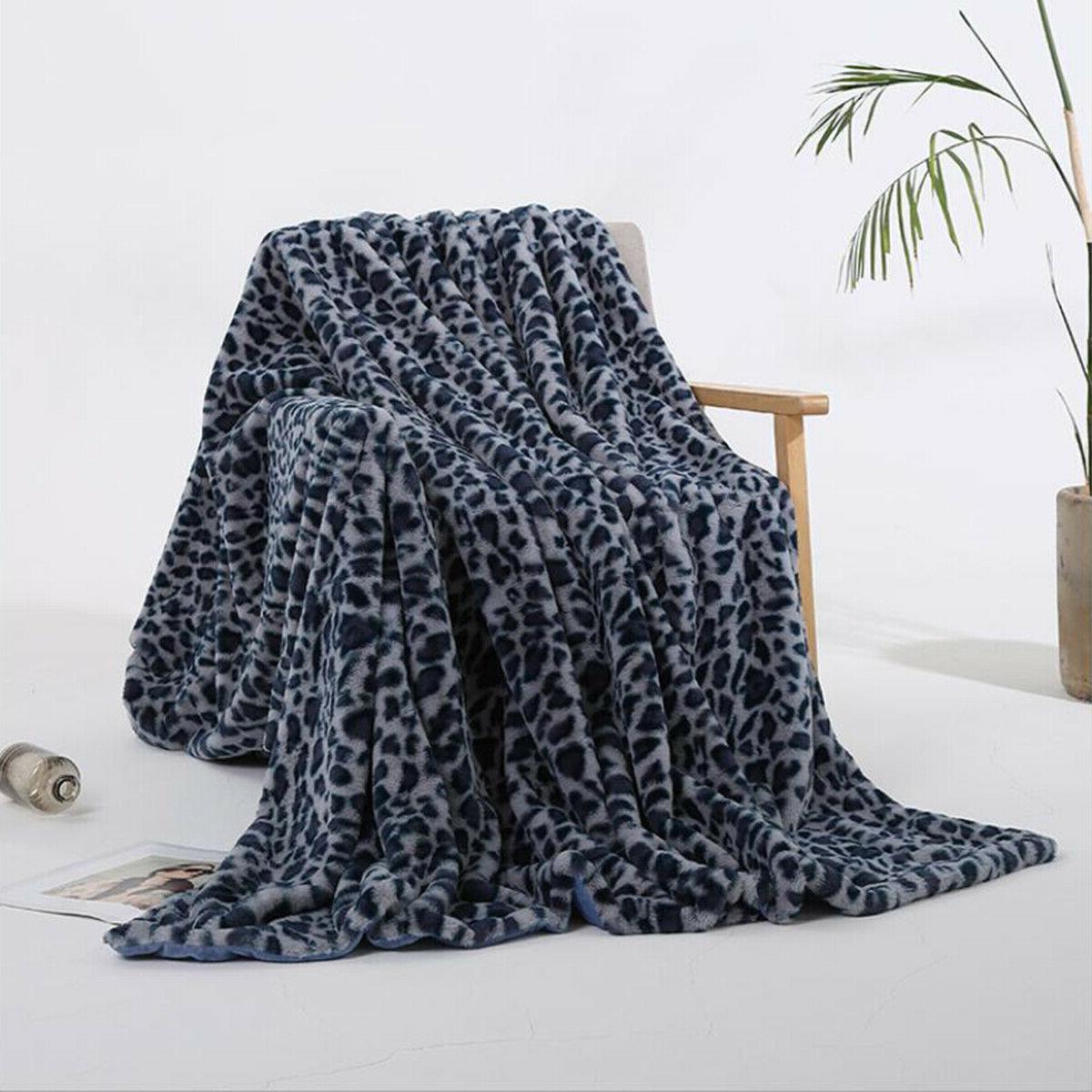 Leopard Print Fur Micro Mink Throw Super Plush Fleece