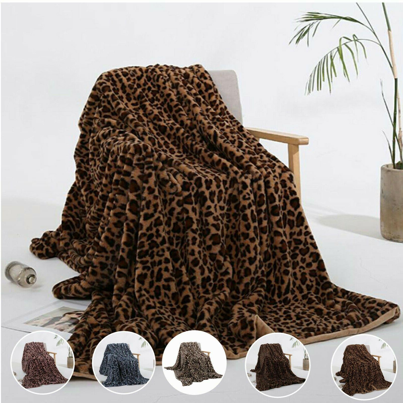leopard print faux fur micro mink throw