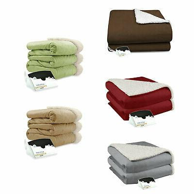 micro mink and sherpa electric heated blanket