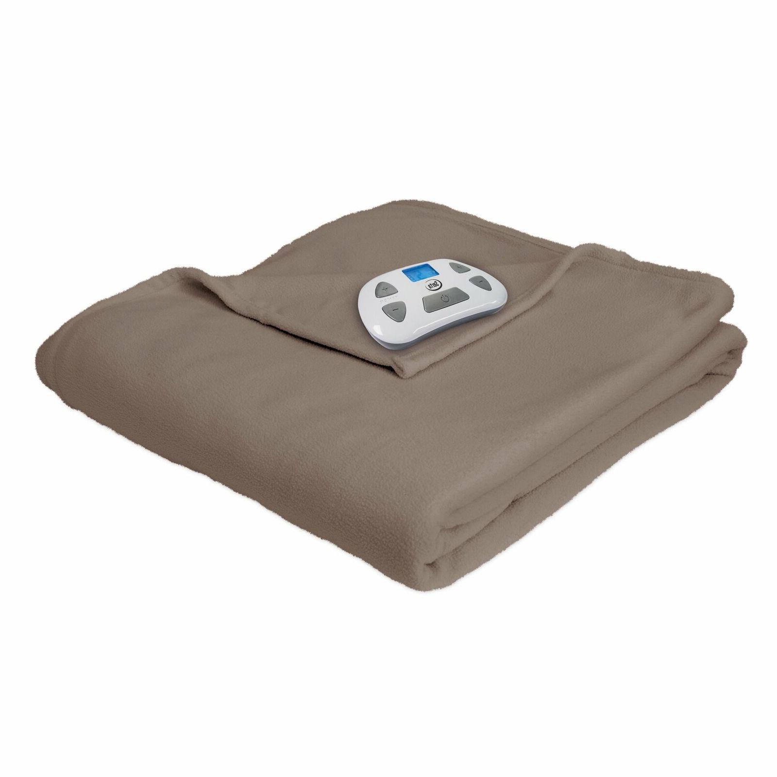 Serta MicroFleece Electric Heated Blanket Twin Beige With Di