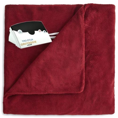 Pure Warmth MicroPlush Electric Heated Blanket Full Claret