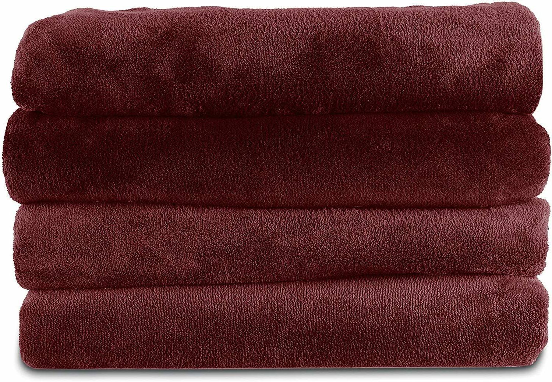 microplush electric heated throw blanket garnet